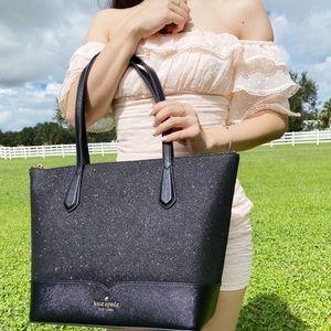 Kate Spade Glitter Large Top Zip Tote Black